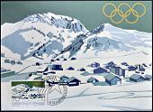 stamp dedicated to winter olympics at Lake Placid 1980 shows Malbun with Ochesenkopf mountain