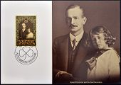 A stamp printed in Liechtenstein shows Prince Franz Josef with his father