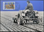 stamp printed in Liechtenstein dedicated to Man and work shows agriculture
