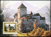 stamp dedicated to residence of Prince Francis Joseph II shows Vaduz Castle