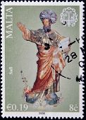 a stamp printed in Malta shows St. Paul
