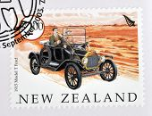stamp printed in New Zealand dedicated to old cars shows 1915 Model T Ford