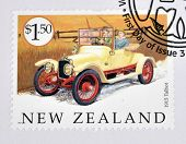 A stamp printed in New Zealand dedicated to old cars shows 1915 Talbot