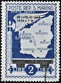 A stamp printed in San Marino shows map of San Marino