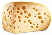 Quarter of Emmental cheese head isolated on a white background. Clipping paths.