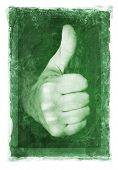 Grainy and gritty image of a thumb up gesture.
