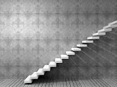foto of step-up  - Concept or conceptual white stone or concrete stair or steps near a wall background with wood floor - JPG