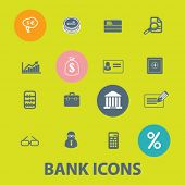 bank, investment flat icons set  for digital web, print, design, mobile phone apps, vector