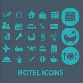 hotel, motel flat icons set  for digital web, print, design, mobile phone apps, vector