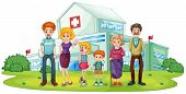 Illustration of a big family near the hospital on a white background