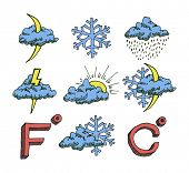 Weather icons set. Hand drawn sketch illustration isolated on white background