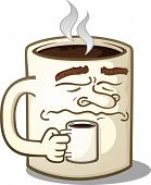 stock photo of steamy  - A very grumpy mug of coffee cartoon character - JPG