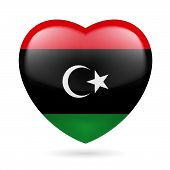 stock photo of libya  - Heart with Libyan flag colors - JPG
