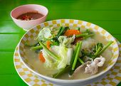 Mixed  Vegetables Soup With Vermicelli Noodles And Pork, Sukiyaki
