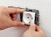 Installing Electrical Outlet Or Socket - Closeup