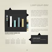 Modern flat page layout with text and graph. Web page or print template can be used for annual repor