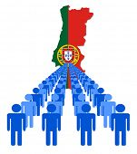 Lines of people with Portugal map flag vector illustration