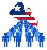 Lines of people with Liberia map flag vector illustration