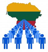 Lines of people with Lithuania map flag vector illustration
