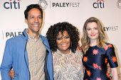 LOS ANGELES - MAR 26:  Danny Pudi, Yvette Nicole Brown, Gillian Jacobs at the PaleyFEST 2014 -