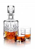 Whisky In A Carafe And Two Glasses Isolated On White