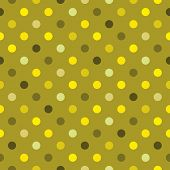 Seamless colorful vector polka dots green pattern or texture with green, yellow and dark background