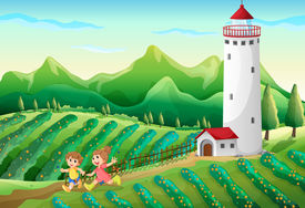 picture of playmate  - Illustration of the kids playing at the farm - JPG