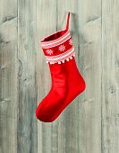 Christmas Stocking. Red Sock With Snowflakes For Gifts