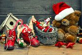 Christmas Decoration With Antique Toys. Retro Style Toned Picture