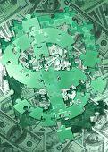 Puzzle Dollar Concept 3D