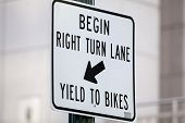 Right Turn Bike Lane Sign
