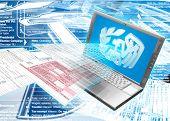 IRS Laptop E-Filing Concept 3D