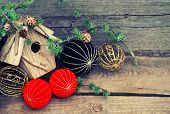 Christmas Decoration On Wooden Background. China Style Balls