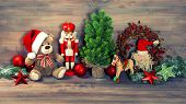 Christmas Decoration With Antique Toys Teddy Bear And Nutcracker