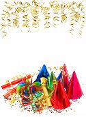 Colorful Garlands, Golden Serpentine And Confetti
