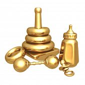 Gilded Baby Items 3D