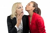 Woman trying kiss enother woman