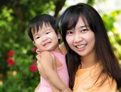 Young Beautiful Asia Mother And Daughter