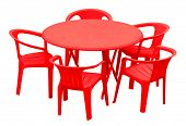 Plastic Table And Chairs - Red