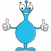 Blue cartoon with thumbs up
