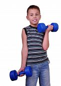 Isolated Portrait Of Child Exercising With Dumbbells