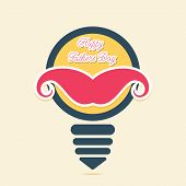 happy fathers day greeting design , mustache placed on bulb concept vector