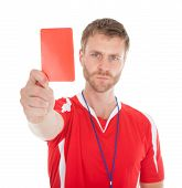 Portrait Of Referee Showing Red Card