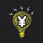 creative money idea , yen symbol in drawing bulb design concept vector