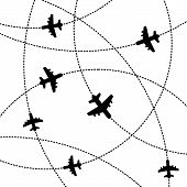 Airplanes Background with Trajectory. Vector