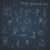 Set of hand-draw things for a birthday celebration