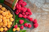 Red and yellow ripe raspberries