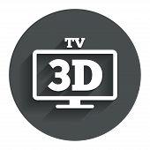 3D TV sign icon. 3D Television set symbol.