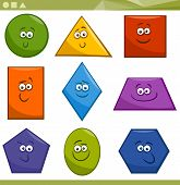pic of trapezoid  - Cartoon Illustration of Basic Geometric Shapes Funny Characters for Children Education - JPG