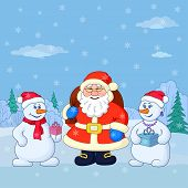 Santa Claus and snowmans in a winter forest